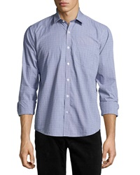Neiman Marcus Trim Fit Micro Dobby Sport Shirt Sailor