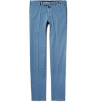 Isaia Slim Fit Stretch Cotton Twill Chinos Blue
