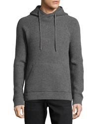 Vince Hooded Wool Pullover Sweater Heather Carbon