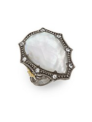Judith Ripka Dark Nite Mother Of Pearl And White Sapphire Sterling Silver Ring
