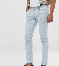 Heart And Dagger Skinny Jeans In Light Blue With Chain