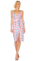 Privacy Please Marcia Midi Dress In Red. Pastel Plaid