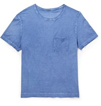 Massimo Alba Slim Fit Garment Dyed Cotton Jersey T Shirt Blue