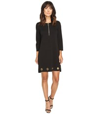 Christin Michaels Price Zip Front Grommet Dress Black Women's Dress