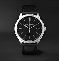 Baume And Mercier Classima Quartz 42Mm Stainless Steel Croc Effect Leather Watch Black