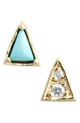 Women's Mociun Mismatch Triangle Turquoise Stud Earrings