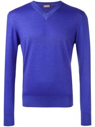 Cruciani V Neck Sweater Pink And Purple