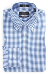 Nordstrom Traditional Fit Non Iron Check Dress Shirt Blue Bell