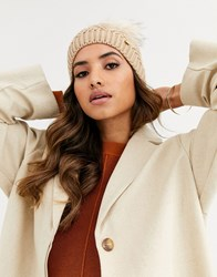 River Island Knitted Beanie Hat With Faux Fur Pom Pom In Camel Tan