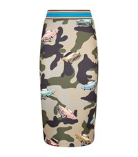 Pinko Camouflage Neoprene Pencil Skirt Female Multi
