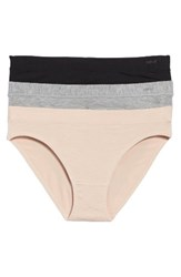 Naked Women's 3 Pack Stretch Modal Modern Panties Black Grey Rose Dust