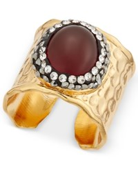 Paul And Pitu Naturally Gold Tone Pave Red Stone Hammered Finish Ring