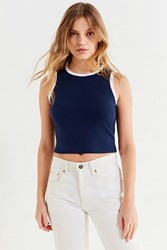 Urban Outfitters Uo Chase Contrast Tank Top Navy