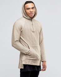 Pull And Bear Pullandbear Longline Hooded Sweatshirt In Beige Beige Green