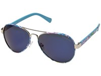 Lilly Pulitzer Ainsley Shiny Gold Guilty Pleasure Polarized Blue Mirror Lens Fashion Sunglasses