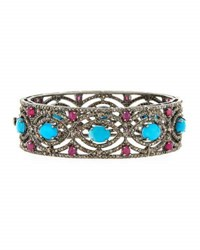 Bavna Turquoise Diamond And Composite Ruby Bangle Bracelet