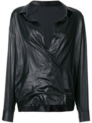 Barbara Bui Long Sleeve Fitted Wrap Blouse Black