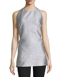 Cnc Costume National Halter Neck Backless Top Silver Women's