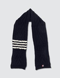 Thom Browne Aran Cable Scarf Blue