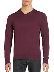 Saks Fifth Avenue V Neck Long Sleeve Pullover Wine