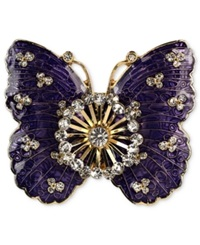 Jones New York Brooch Gold Tone Crystal Purple Butterfly Pin