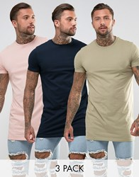 Asos Super Longline T Shirt 3 Pack Multi