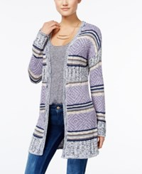 Hippie Rose Juniors' Striped Open Front Cardigan Moonshadow