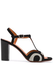 Chie Mihara Two Tone High Heel Sandals Black