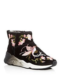 Ash Muse Embroidered Shearling Booties Black