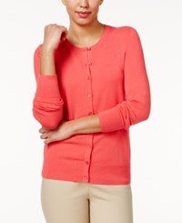 Charter Club Crew Neck Cardigan Only At Macy's Crushed Coral