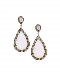 Bavna Chalcedony Chrysoprase And Diamond Teardrop Earrings