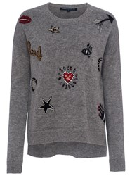 French Connection Lucky Knit Crew Neck Jumper Grey Mel Multi