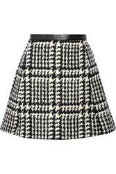 Jill Stuart Crystal Leather Trimmed Wool Blend Boucle Tweed Mini Skirt
