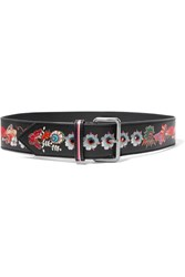 Etro Printed Leather Waist Belt Black