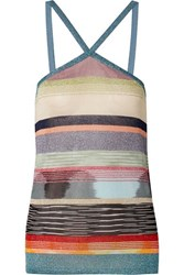 Missoni Striped Metallic Crochet Knit Top Blue