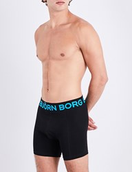 Bjorn Borg Pack Of Two Sam Stretch Cotton Trunks Navy Turq
