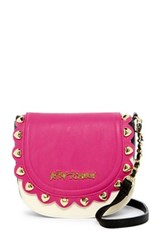 Betsey Johnson Scallop Faux Leather Flap Crossbody Pink