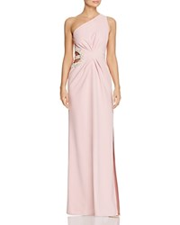 Laundry By Shelli Segal One Shoulder Beaded Cutout Gown Light Pink