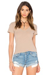 James Perse Reverse Binding Casual Tee Tan