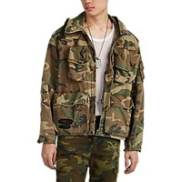 R 13 Distressed Camouflage Hooded Field Jacket Multi