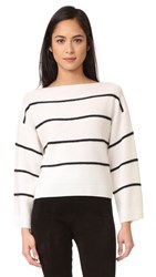 Vince Wide Striped Boat Neck Cashmere Sweater Off White Black
