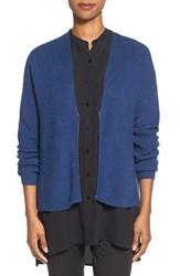Petite Women's Eileen Fisher Zip Front Merino Wool Cardigan Blue Bonnet