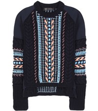 Versace Embellished Wool Blend Sweater Blue