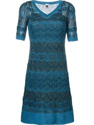 M Missoni Zig Zag Crochet Knit Half Sleeve Dress Blue