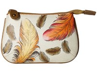 Anuschka 1107 Floating Feathers Ivory Coin Purse White