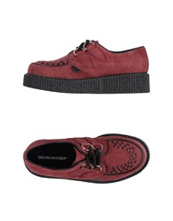 Underground Lace Up Shoes Maroon