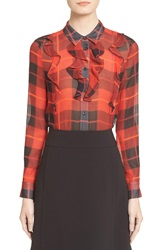Kate Spade New York Woodland Plaid Chiffon Blouse Fairytale Red