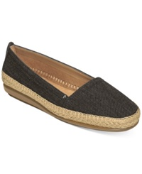Aerosoles Solitaire Espadrille Flats Women's Shoes Black Burlap