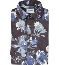 Duchamp Hibiscus Print Tailored Fit Cotton Shirt Grey