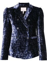 Rebecca Taylor Floral Pattern Fitted Blazer Blue